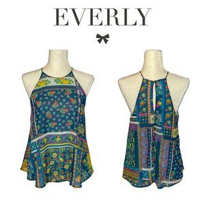 Everly Blue Floral Swing Halter Top